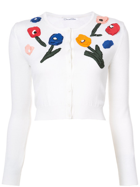 oscar de la renta cardigan cardigan women white wool sweater