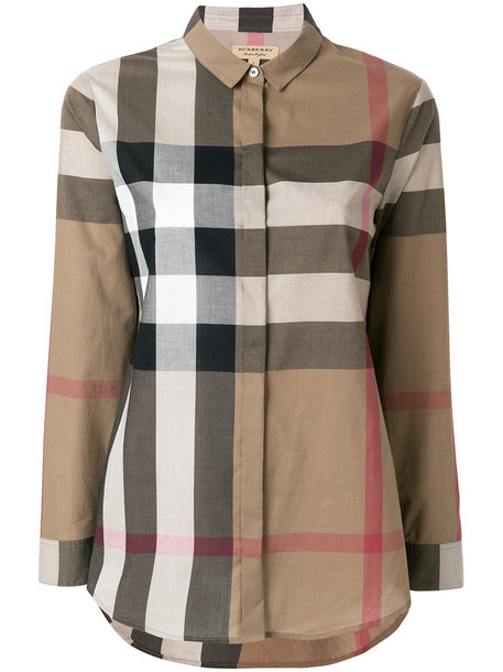 Burberry shirt women cotton brown top