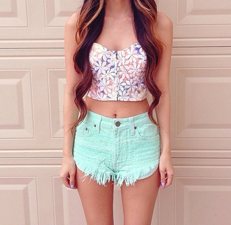 tank top crop tops top corset top shorts blouse summer swag cool mint