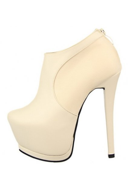 73be616265c8 Cream White Suede Leather Platform Ankle Stiletto Heels Boots Shoes