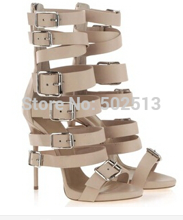 2014 nude leather high heel gladiator sandals bootie strappy buckle lace up women mid calf women boots-in Sandals from Shoes on Aliexpress.com | Alibaba Group