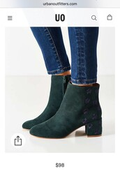 shoes,ankle boots,mid heel boots,green shoes