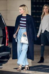 shoes,flare jeans,wide leg,margot robbie,streetstyle,coat,top,stripes