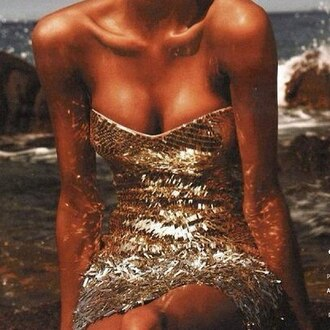dress glitter beach sea waves gold girl body shiny