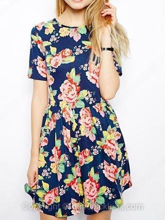 sundress summer dress floral dress floral red flowers boho short dress
