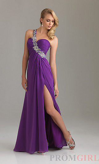 Night Moves Prom Dress, One Shoulder Evening Gowns- PromGirl