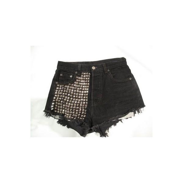 High Waisted Studded Denim Shorts - Polyvore