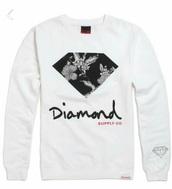 sweater,diamond supply co.,black sweater,grey sweater,white sweater
