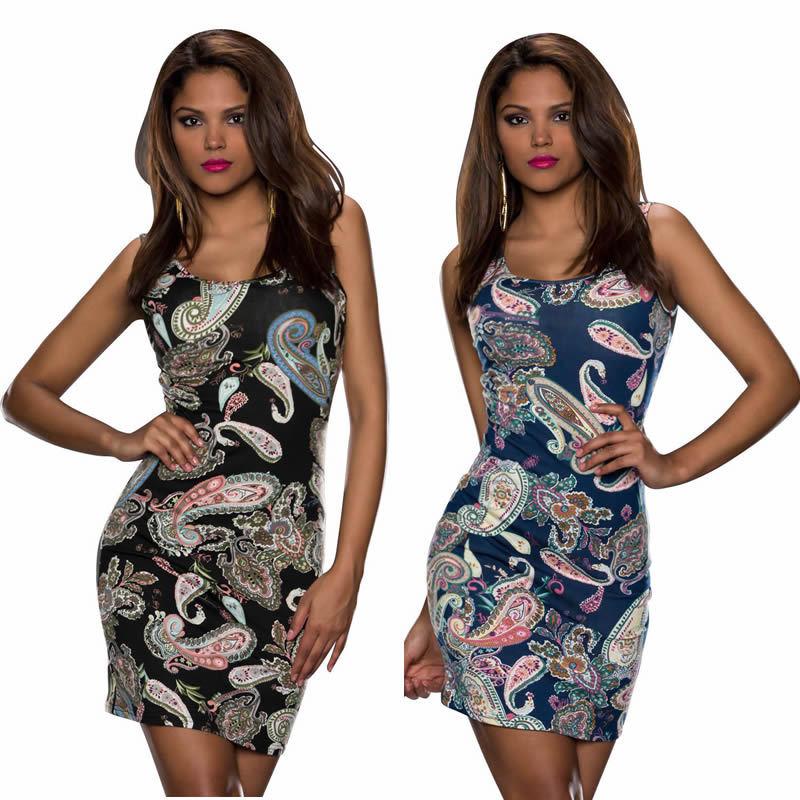 2014 Brand New Summer Dress Women Vintage Printed Sleeveless Mini Dress P0pular Lady's Bodycon Casual Dress 9109 | Amazing Shoes UK