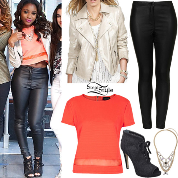 shoes high heels normani kordei Normani Hamilton Normani Kordei Hamilton Fifth Harmony shirt top crop tops jacket leggings bright pink girly celebrity