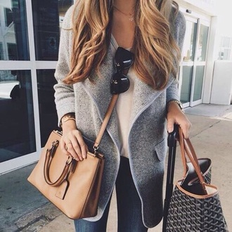 cardigan clothes fall outfits chic weheartit cute watch shirt jeans jewels white grey sunglasses bag
