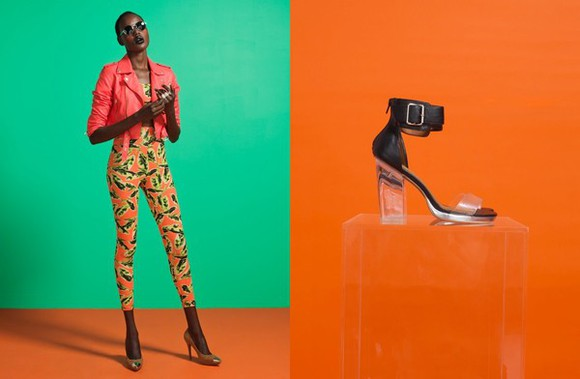 jacket coral jacket shoes high heels jeffrey campbell clear heel leather heels buckles black leather pointy toe heels jeffrey campbell heels printed leggings tropical print tropical tropical print leggings coral moto jacket crop tops printed crop top pants tank top sunglasses
