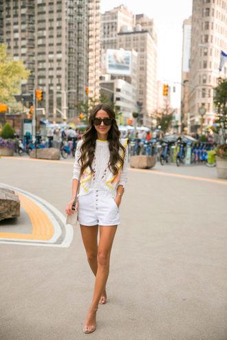 sweater tumblr white sweater shorts denim denim shorts white shorts sandals sandal heels high heel sandals bag sunglasses shoes