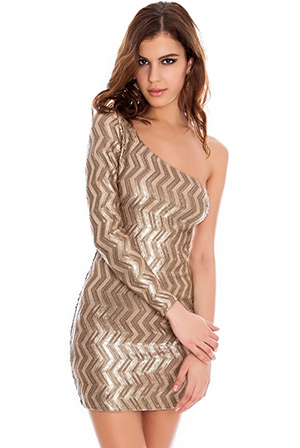 Single Sleeve Zig Zag Mini Dress