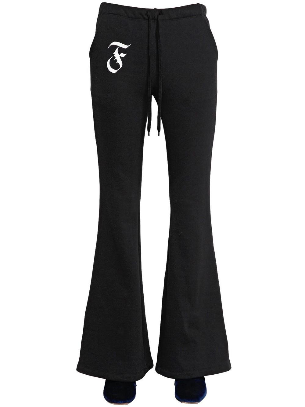 FACETASM Flared Cotton Sweatpants in black