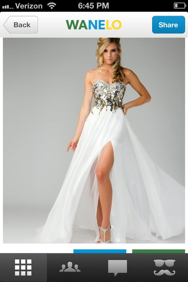 dress gorgeous long dress sequins belted prom dress white and gold dress long prom dress white dress gold dress prom wedding