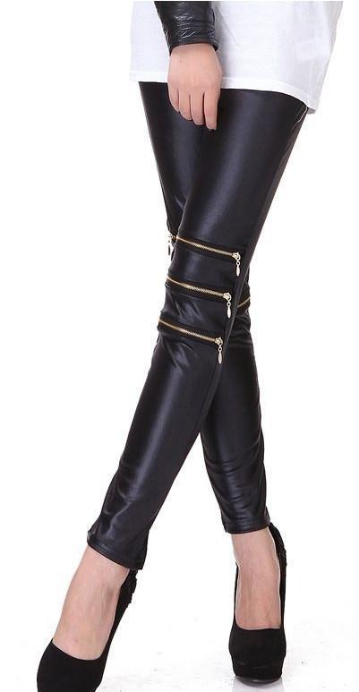 Balmania zipper vegan leather leggings pants – glamzelle