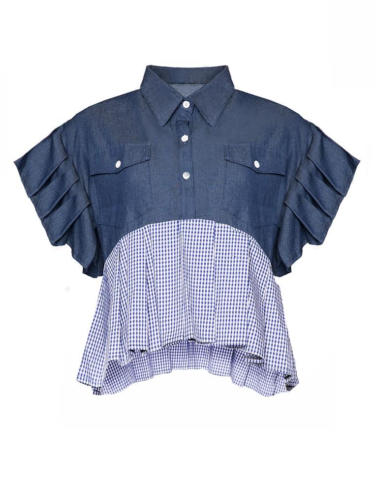 Pleated gingham denim shirts