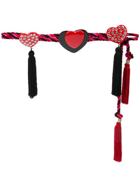 heart tassel belt black