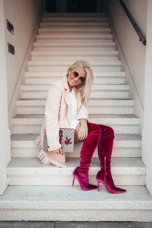 katwalksf blogger coat dress shoes socks sunglasses bag fall outfits boots over the knee boots pink coat gucci bag