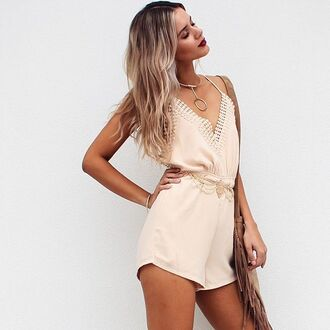 romper nude romper tumblr v neck bag brown bag fringed bag fringes necklace silver necklace summer outfits jewels choker necklace gold choker gold gold necklace jewelry