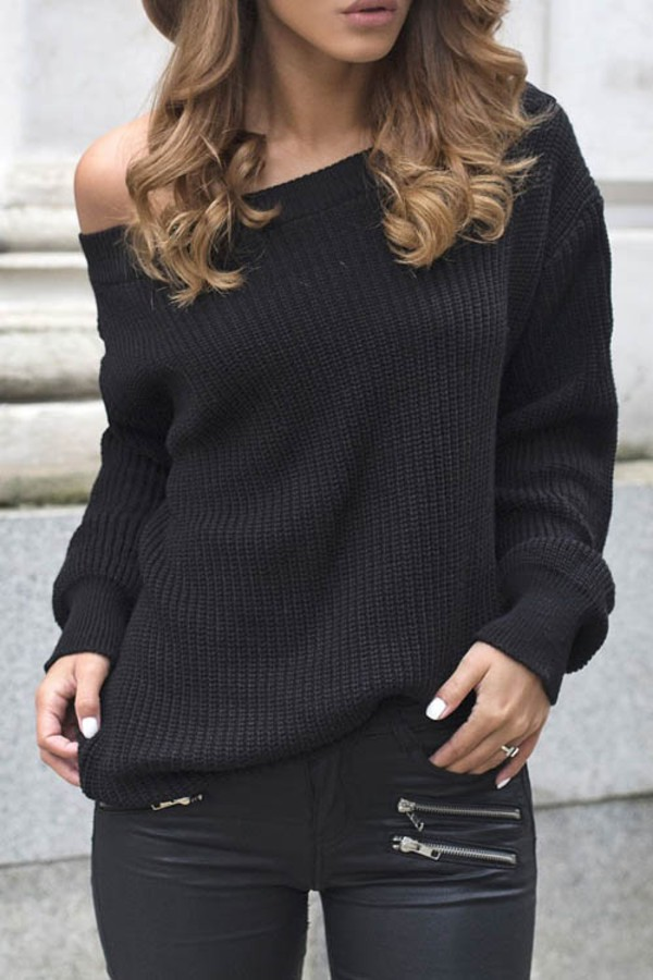 Sweater Black Off The Shoulder Knitwear Zaful All