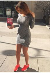 dress,grey,fitness gray,cute,style,stylish,soft grunge,nice,love,catherine paiz,summer,fall outfits,spring,shoes