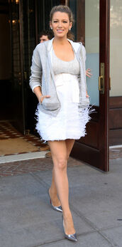 dress,mini dress,maternity dress,maternity,blake lively,jacket,hoodie,grey,pumps,metallic shoes,metallic,shoes,white dress,fluffy