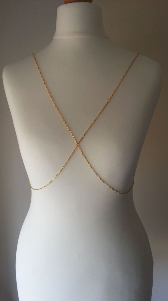 Gold crop body chain body harness necklace
