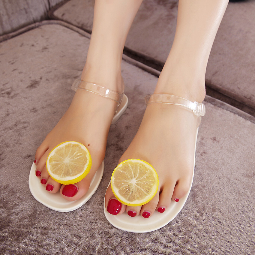6bcfb1e13 Hot selling new summer black and white girls jelly sandals female lemon  flower flat heel flip flop women beach ...