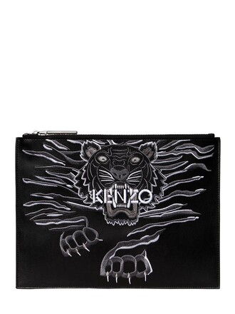 embroidered tiger pouch leather black bag