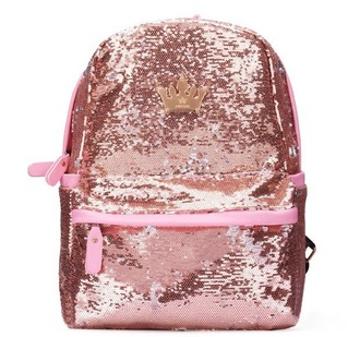 bag girl girly girly wishlist pink sequins pink backpack crown cute back to school backpack