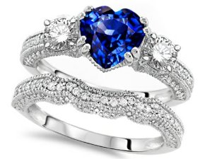 Amazon.com: Star K Heart-Shape 7mm Created Sapphire Engagement Wedding Set Size 5: Engagement Rings: Jewelry