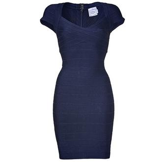 dress bandage dress blue dress navy short sleeve herve leger