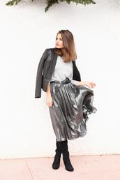 seams for a desire,blogger,skirt,belt,midi skirt,silk,silver,blazer