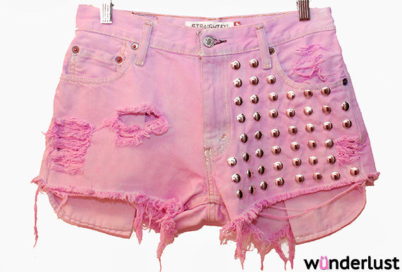 The Jenna Shorts (pink, high-waisted, studded, cutoff shorts) on Wanelo