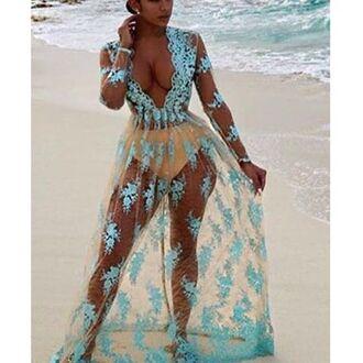 dress mischievous socialite maxi dress low cut dress plunging dress sexy beach cover up cover up sexy sheer dress baby blue dress long sleeve dress