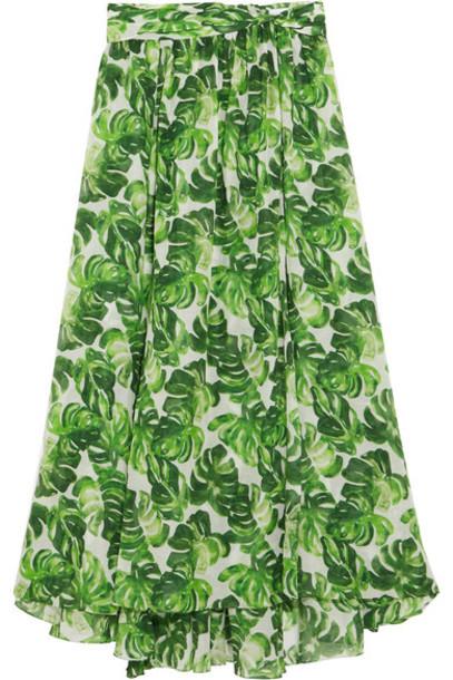 Caroline Constas skirt cotton silk green