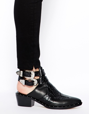 Senso | Senso Levi Black Croc Print Cut Out Ankle Boots at ASOS