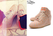 shoes,nike,wedge sneakers,nike wedges,polka dots,coral,becky g