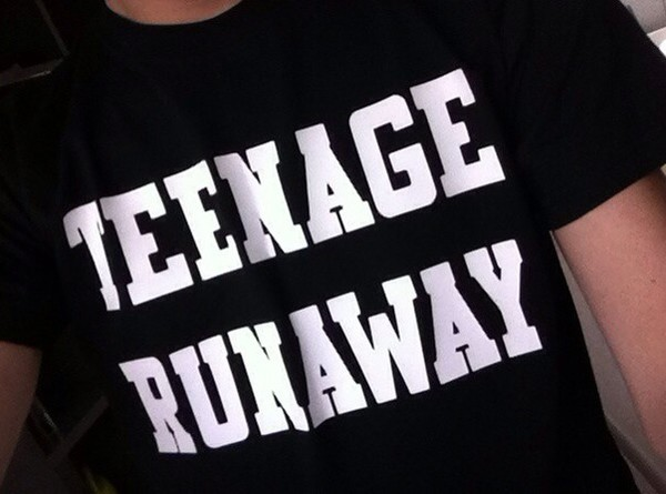 teenage runaway t-shirt dress graphic tee white black cotton tumblr outfit shirt