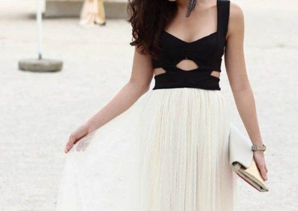 simple dress cute chiffon elegant hot black and white
