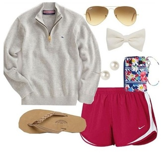shorts white girl vineyard vines summer lazy day southern preppy southern preppy sunglasses ootd sandals tumblr bows simply southern swimwear