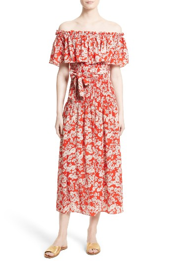 Rebecca Taylor Cherry Blossom Silk Off the Shoulder Dress | Nordstrom