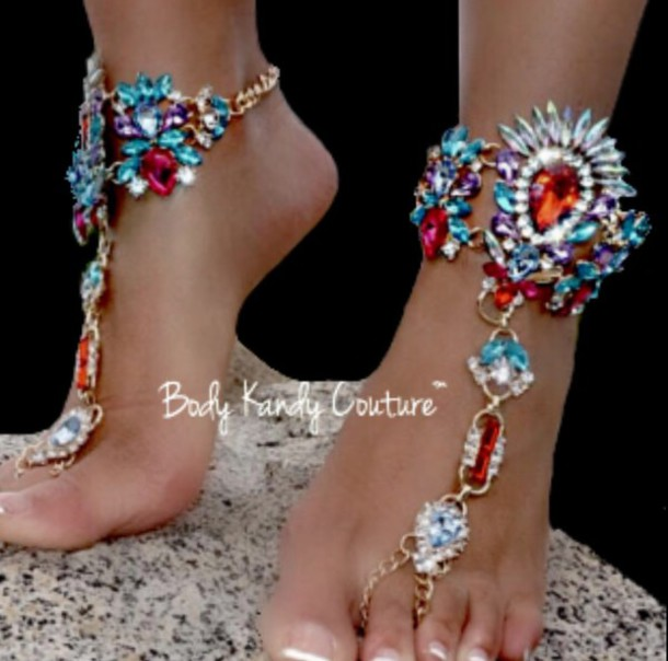 d4306b4de4b375 jewels foot bling body kandy couture foot jewelry foot chain barefoot  sandals beach wedding boho jewelry