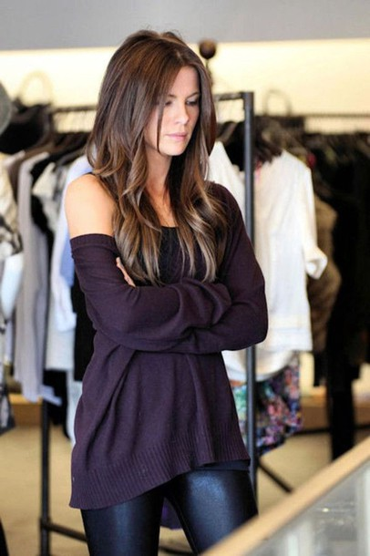 sweater dark purple slouchy baggy off the shoulder loose tunic long soft leather faux leggings satin