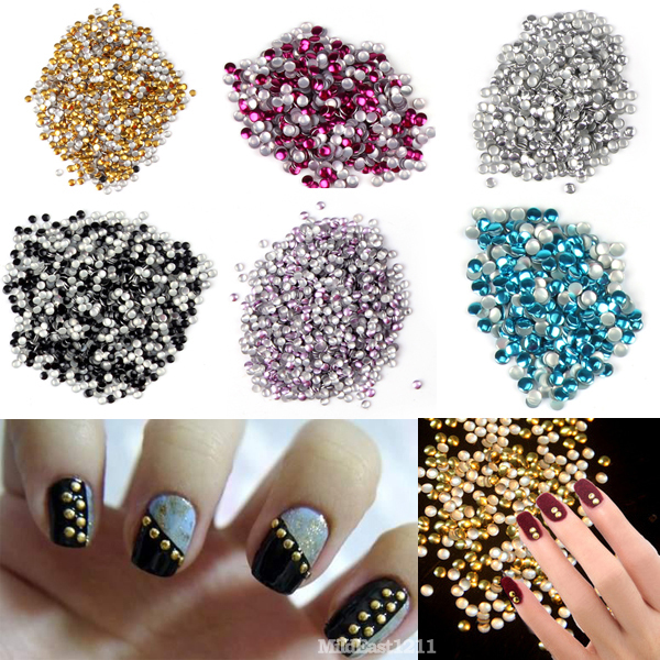 Gold & Silver Stud 500-1000 PCS 3D Design Metallic Studs Nail Art Manicure DIY