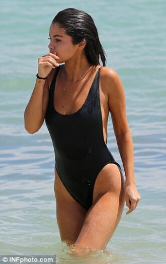 swimwear black selena gomez one piece swimsuit black swimwear girly girl girly wishlist one piece