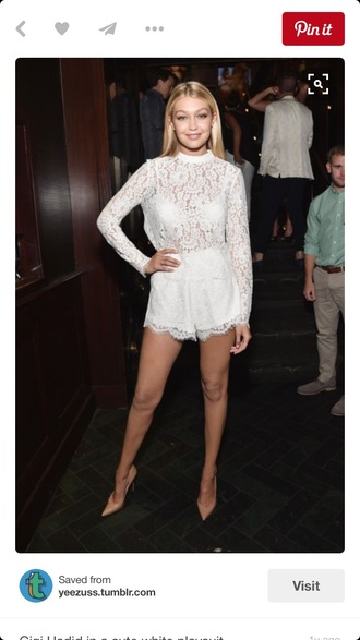 romper gigi hadid white lace lace romper white top lace top crochet fashion celebrity style