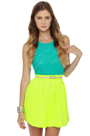 Cute Neon Yellow Skirt - Mini Skirt - Pleated Skirt - $42.00